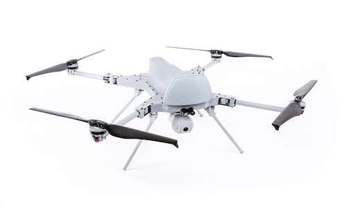 The Kargu-2 quadcopter armed with an explosive charge.